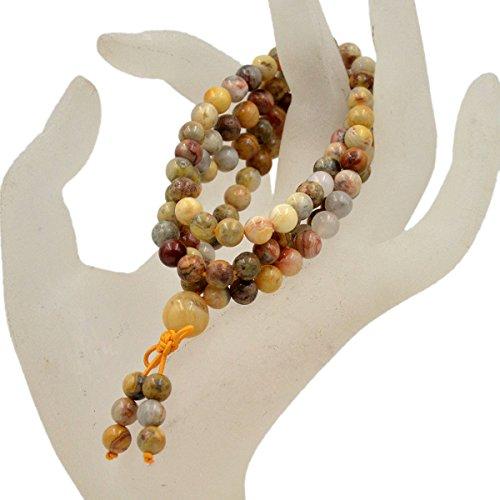 AD Beads Natural Gemstones Buddhist 108 Prayer Healing Beads Mala Stretchy Bracelet Necklace 6mm (Crazy Lace ()