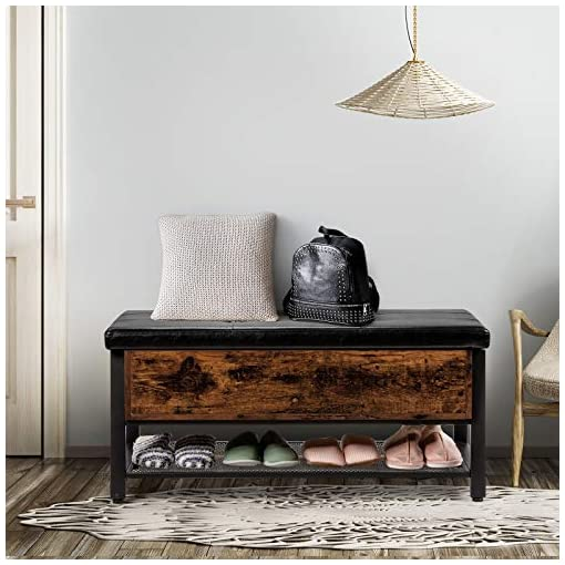 Entryway Giantex Industrial Storage Bench, Entryway Shoe Bench for Bedroom, Living Room, Hallway, Padded Stool for Bed End…