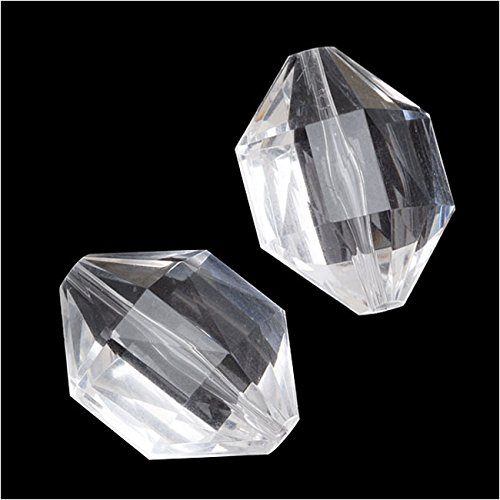 - Vintage Clear Lucite Plastic Faceted Diamond Shaped Pendant Beads 24x30mm (4)