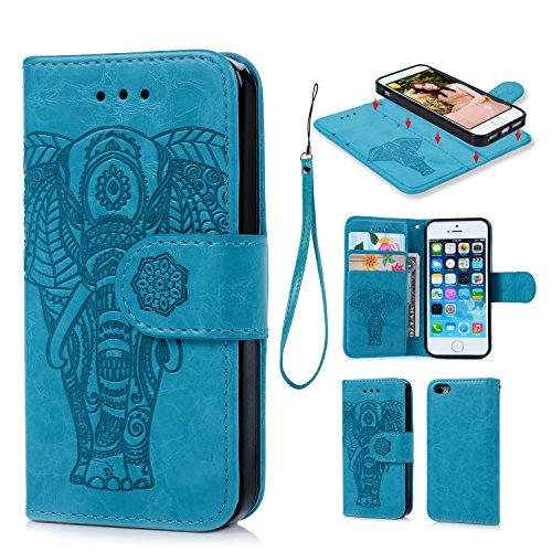iPhone 6 6S Wallet Case PU Leather Oil Wax Embossed Elephant Flip TPU Case Cover Detachable Wallet Credit Card Slots Magnetic Flap Closure Cover for iPhone6 6S (Blue)