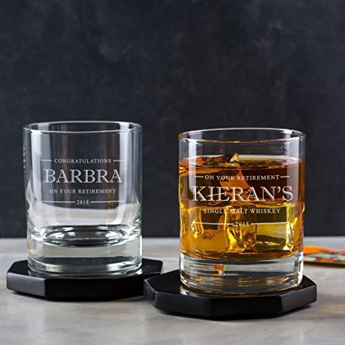 Personalized Whiskey Glass/Personalized Retirement Gifts For Men/Personalised Retirement Gifts/Coworker Leaving Gifts/Customized Retirement ()