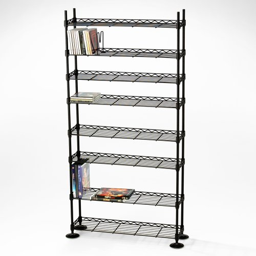 Maxsteel 8 Tier Steel Wire Shelving for 440 CD/228 DVD/264 BluRay/Games Media Black by Atlantic