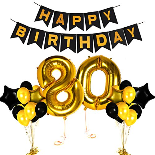 Happy 80th Birthday Gold Centerpieces Decorations Party Ideas Number Supplies with Fabulous Balloon Banner Photo Booth Props Decor for Adults and Children