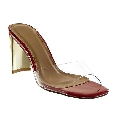 Angkorly Damen Schuhe Mule Sandalen - Kunststoff - Transparent - Golden Blockabsatz High Heel 9.5 cm