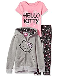 Hello Kitty Girls' 3 Piece Zip up Hoodie Set with T-Shirt and Leggings