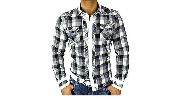 Golden Horn Hombre de Cuadros de Camisa Slim Fit Polo Camisa Cuadros Lila/Blanco 616 Morado/Blanco Small: Amazon.es: Ropa y accesorios