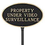 Montague Metal Products 6'' x 10'' Property Under Video Surveillance Statement Plaque with 23'' Stake, Black/Gold