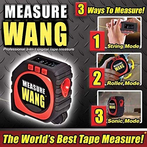 2018 New Premium MEASURE WANG Digital Measuring Tape Design 3-in-1 String Mode, Laser Mode, and Roller Mode with LCD Digital Display To Measure Any Surface As Seen On TV For ()