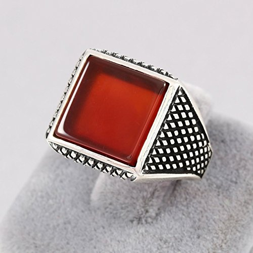 Square Red Agate (Akik / Aqeeq) Stone Turkish Handmade Men's Solitaire Ring 925 Sterling Silver Ring Size 8 ()