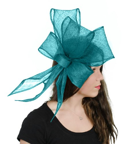 Hats By Cressida Bucks Fizz Sinamay Ascot Fascinator Hat Women's With Headband - Teal Green