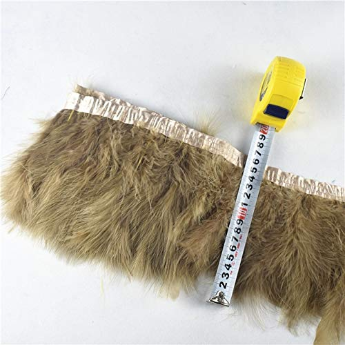 2Yard Fluffy Marabou Feather Trims Fringe 6-8inch-Turkey Feathers Ribbon-Turkey Feathers Trims Fringe with Satin Ribbon Tape-Feather Trim for Crafts Decoration Sewing Dress Hat Clothes-Feather Trim ()