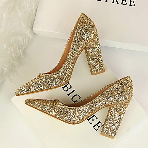 Yukun zapatos de tacón alto Autumn Red Bridal Shoes Thick with Pointed Silver Gold Wedding Shoes Sequins High-Heeled Shallow Mouth Women's Shoes Gold