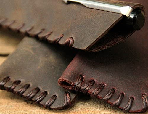 Coffee Chris.W Handmade Soft Pencil Protective Sleeve Cover Case Holder Vintage Genuine Leather Fountain Pen Pouch Bag