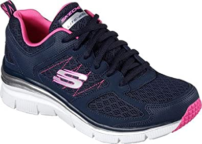 Skechers Womens Fashion Fit Not Afraid Sneaker,Navy/Hot Pink,US 6 M