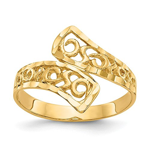 JewelrySuperMartCollection 14k Yellow Gold by-Pass Lace Diamond-Cut Ring (15mm Width) - Size 7 ()