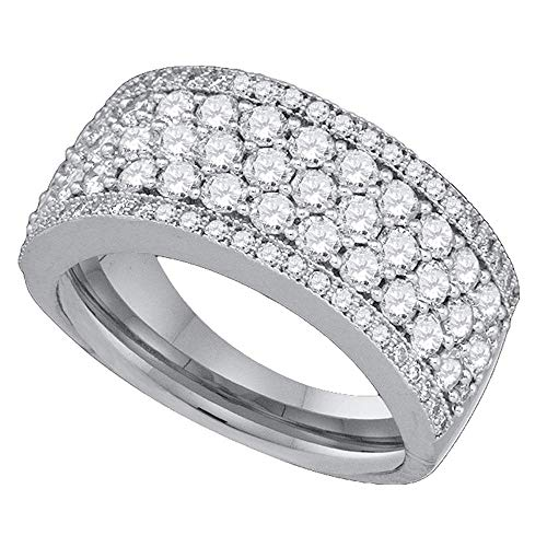 14k White Gold Diamond Fashion Band Right Hand Ring Round Five Row Pave Wide Womens Fancy 1.66 ct