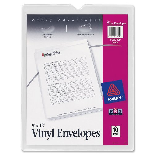 Avery Top-Load Clear Vinyl Envelopes with Thumb Notch, 9 x 12 inches Insert Size, 10 per Pack (Poly Shop Ticket Holders)