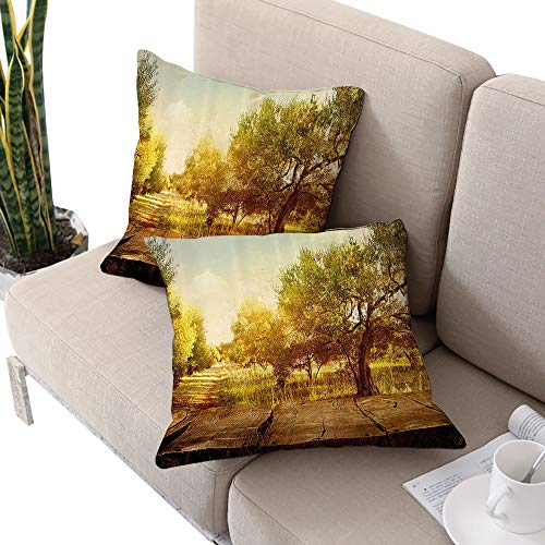 Brandosn Landscape Square futon Cushion Cover,Mystic Forest Flowers Trees Farm with Wooden Deck Oil Painting Image Sepia Umber Peach W16 xL16 2pcs Cushion Cases Pillowcases for Sofa Bedroom -