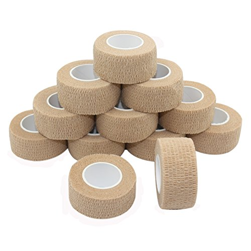 COMOmed Self Stick Cohesive Bandage Latex FDA Approved 1x5 Yards First Aid Bandages Stretch Sport Wrap Vet Tape for Wrist Ankle Sprain and Swelling,Skin