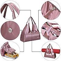 Bolsas de Gimnasio Mujeres, Zip Bolsa de colchoneta de yoga Grande, Bolsa de asa de yoga con correa, con Compartimento para Zapatos y Bolsillo Húmedo ...