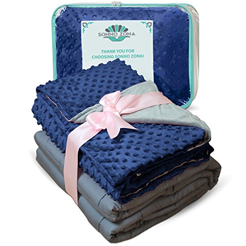 Weighted Blanket Adult Size-For Heavy Stress Relief, Autism, Restless Leg Syndrome & natural calm for anxiety - Gravity Blue 48x72 15 LBS- Blankets made from our best Relaxation Sleep Fabric