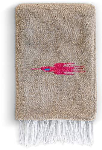 10 Mexican Sand - Mexican Blanket - Yoga Blanket Artisan Thunderbird Thick Authentic Hand Woven Yoga Serape Aztec Cotton Falsa for Beach Throw Blanket for Couch, Throw Blanket for Bed, Picnic, Camping, Travel, Hiking
