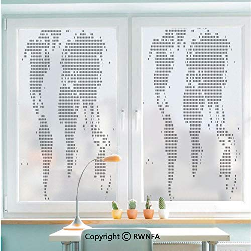 RWNFA Non-Adhesive Privacy Window Film Door Sticker World Map with Graphic Dots Pixelated Seem Spotted Continents Design Simple Modern Decorative Glass Film 22.8 in by 35.4in(58cm by 90cm),Grey White
