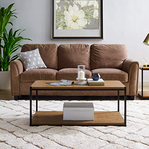 Tall Center Table Coffee Table by Aaron Furniture Designs | Storage Shelf | Sturdy | Easy Assembly | Brown Oak Wood Look Accent Furniture with Metal Frame