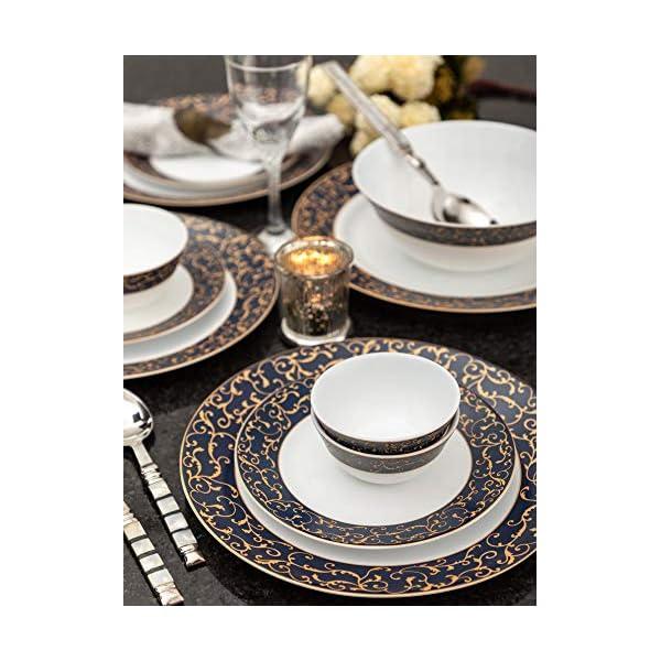 La Opala Anassa Blue Sovrana Collection Opalware Dinner Set, 33 Pieces, White