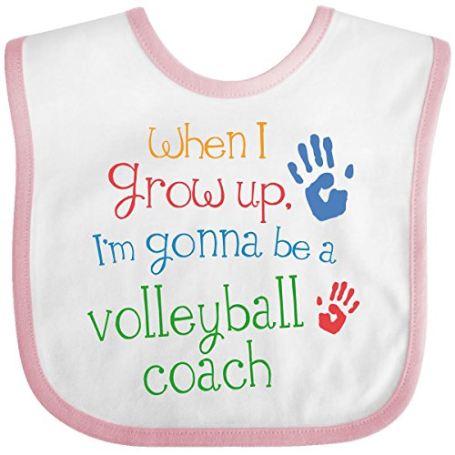Inktastic Baby Boys' Volleyball Coach Future Baby Bib One Size White/Pink