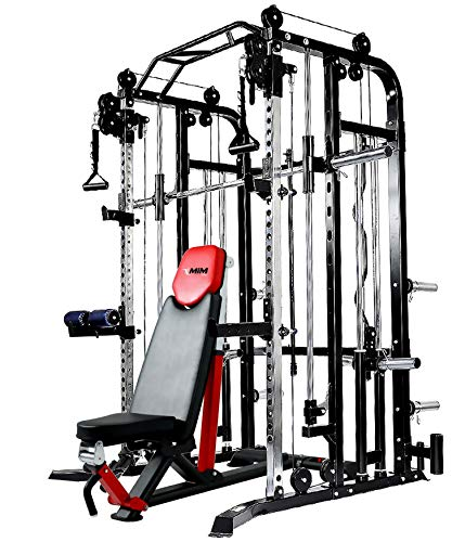 MiM USA Complete Set of Functional Trainer Smith Machine Power Cage & Adjustable Weight Bench All-in-One Ultimate Home Gym Strength Solution SM+FT 1001 Pro