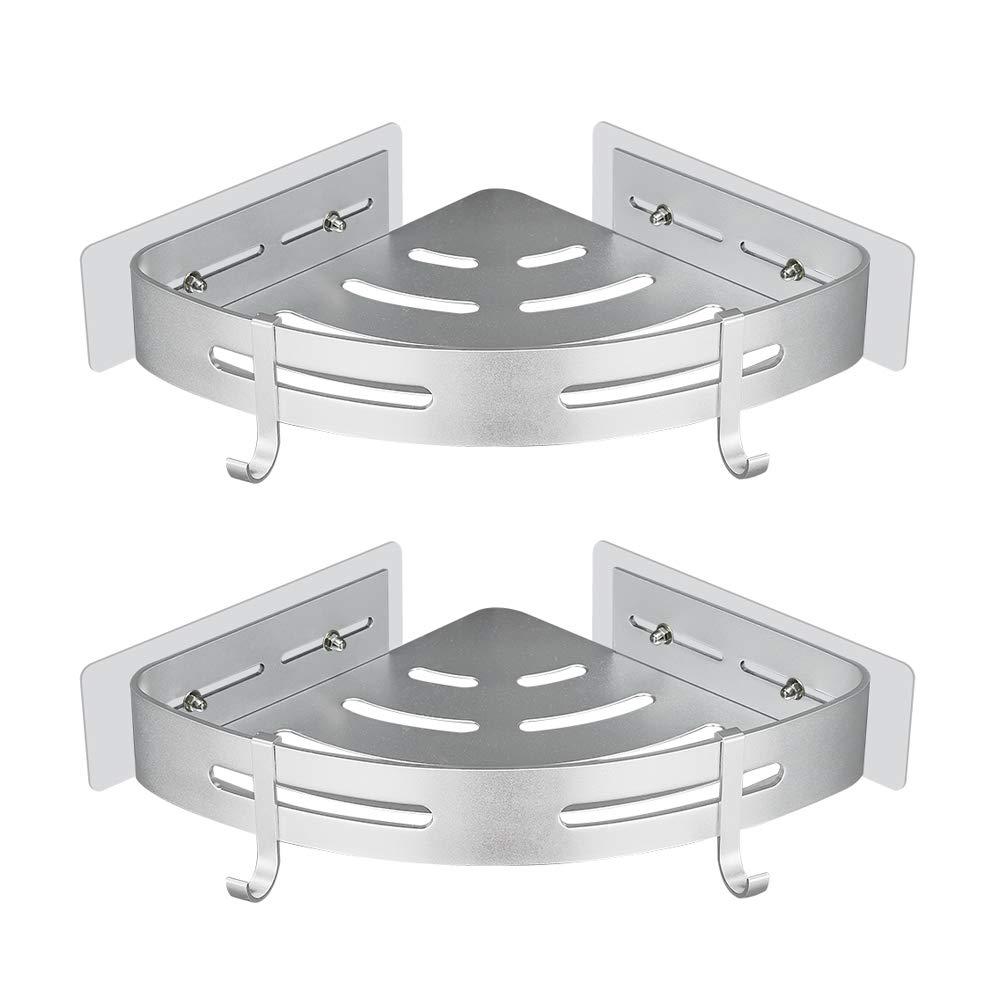 Gricol Estante de Ducha Sin Taladrar en Aluminio Aeron/áutico con 2 Ganchos Estanteria Rinconera Cestas Anti/óxido Auto Adhesivas para Ba/ño 2 Piezas
