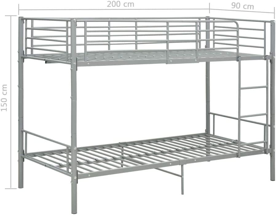 vidaXL Etagenbett Kinderbett Hochbett Metallbett Bett Stockbett Bettgestell Doppelstockbett Schlafzimmer Kinderzimmer Grau Metall 90x200cm
