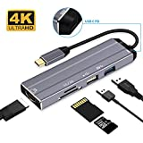 USB C Hub Type C Hub Adapter 6-in-1 USB Type C Hub Adapter Dock with 4K HDMI/PD Power Port/USB2.0/USB3.0/TF(Micro SD)/SD Card Reader for MacBook Pro/Chromebook Pixel and USB C Devices (Space Gray)
