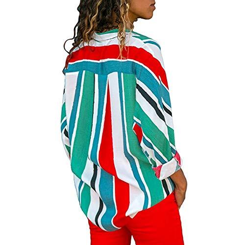 Femme Vert Loose Decha Manche T Casual Chemise Longue Blouse Imprim et Shirt V Top Cou Printemps Chic Rouge Chemisier Automne Ray vWrFwBWYR