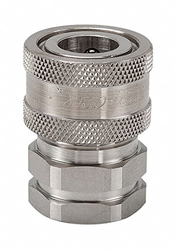 Snap-Tite SVHC8-8F Stainless Steel 316 H-Shape Quick-Disconnect Hose Coupling, Sleeve-Lock Socket, 1/2'' NPSF Female x 1/2'' Coupling Size