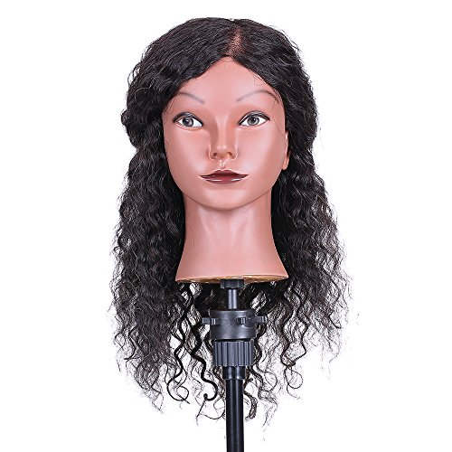 Cigooxm Curly Hair Mannequin Head Hairdressing Training Head for Hair Styling Practice Hair Braiding Dummy Head with 100% Human Hair Black