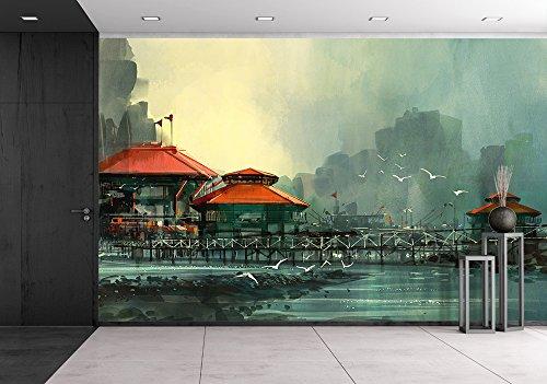 Landscape of Beautiful Harbor Fishing Village Digital Painting