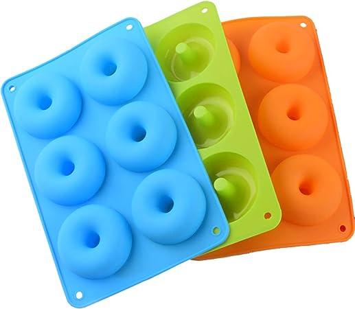 Molde Donuts de Silicona Molde Silicona Reposteria para Hacer Bizcochos//Magdalena para Lavavajillas//Horno//Microondas//Congelador 3Pack
