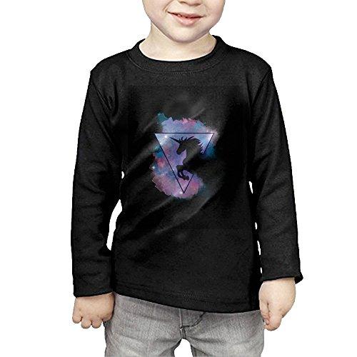 Unicorn Triangle Art Print Kids Children Unisex Long Sleeve Cotton Crew Neck T-Shirt Tee