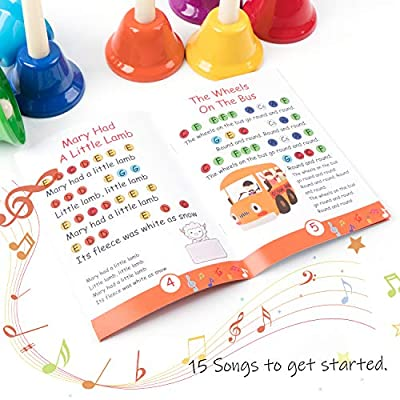Handbells, Rhythm Band Hand Bells 8 Note Musical Bells with Colorful Songbook for Toddlers Children Kids Adults School Church Classroom Wedding, by Vangoa: Musical Instruments