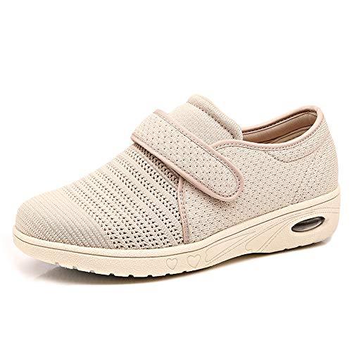 MEJORMEN Womens Breathable Mesh Walking Shoes Adjustable Slip-On Outdoor Sneakers Diabetic Recovery Slippers for Elderly Beige