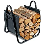 Firewood Log Holder and Carrier | Large 2-in-1 Indoor/Outdoor Firewood Basket w/ Standing Steel Frame Rack & Canvas Tote w/ Handles for Loading & Carrying Kindling | Great for Fireplace or Wood Stove