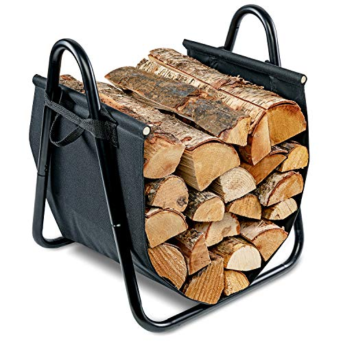 - Firewood Log Holder and Carrier | Large 2-in-1 Indoor/Outdoor Firewood Basket w/ Standing Steel Frame Rack & Canvas Tote w/ Handles for Loading & Carrying Kindling | Great for Fireplace or Wood Stove