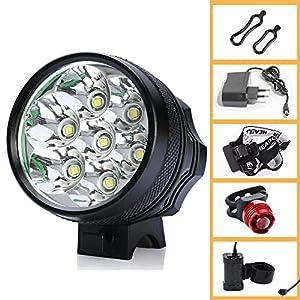 Ammiy® Cree T6 XM-L 7 LED 10000lm Eclairage lampe avant Phare bike light front pour vélo / VTT / Enduro Bike Light Lampe frontale phare étanche rechargeable 8.4 V Prise EU Chargeur et Batterie 7200MAH + feu arrière