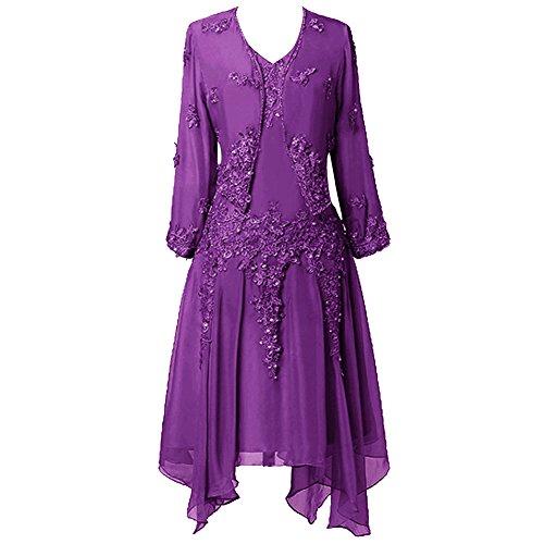 Jacke der Frauen Braut Kleid HWAN Spitze Chiffon R¨¹schen Lila Applique Mutter mit vnaZq