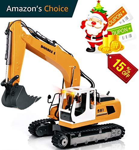 Double Control Handle (DOUBLE  E 17 Channel Full Functional Remote Control Truck Metal Shovel RC Excavator with 2 Bonus Drill and Grasp)