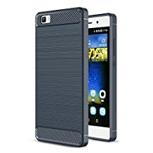 MOONCASE Huawei P8 Lite Case, Carbon Fiber Resilient [Drop Protection] [Anti-Scratch] Rugged Armor Case Cover for Huawei P8 Lite Blue