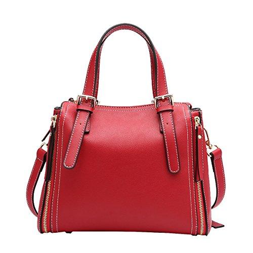 DISSA - Bolso al hombro de Charol para mujer Medium Rojo