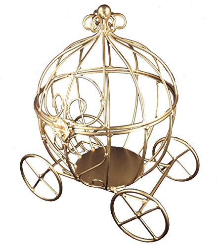 Decorative GOLD Metal Cinderella Pumpkin Carriage With Hinged Lid That can Open Wedding or Birthday Party Table Decor (GOLD)
